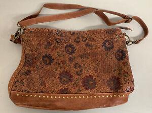 Sundance Woven Leather BAG Brown W/ Adjustable Shoulder Strap Floral Print