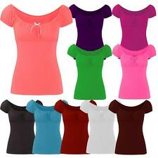 New Womens Off Shoulder Gypsy Tie Ribbon Tops 8-14