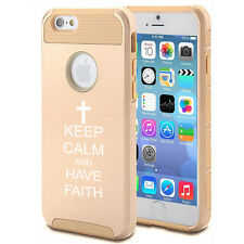 For iPhone X 5s 6 6s 7 8 Plus Shockproof Impact Case Keep Calm Have Faith Cross