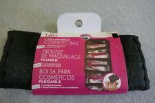 "NEW 20.5"" Lori Black Collapsible Vinyl Makeup Cosmetic Bag Purse 4 Compartments"