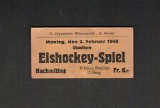 Original 1948 Olympic Winter Games St. Moritz HOCKEY TICKET Canada's Gold Medal!