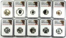 2018 S SILVER REVERSE PROOF SET NGC PF70 FIRST DAY TROLLEY LABEL 10 COINS