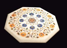 """12"""" Marble Side Table Top Inlay Handicraft Work For Room Decor"""