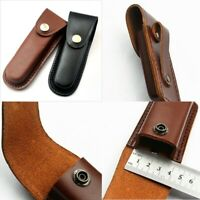 "5"" Hot Cowhide Leather Sheath Pocket Folding Knife Multi Tool Case Pouch New"