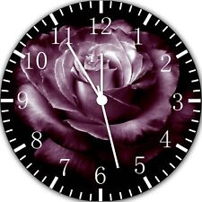Beautiful Purple Rose Frameless Borderless Wall Clock Nice Gifts or Decor Y108