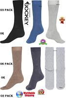 Jockey Mens Designer Multi 3 Pack Plain Business Luxury Cotton Rich Calf Socks