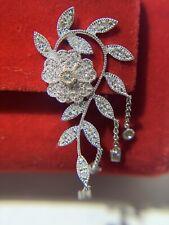 Diamond & 14K White Gold Floral French Dangling Earrings