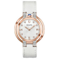 Bulova Rubaiyat Women's Quartz Diamond Accents White Leather 35mm Watch 98R243