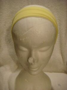 Stretch  head band/ bandeau  in pale yellow 5cms wide