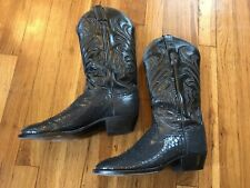 Tony Lama Men's Blue Black Exotic Snake Skin Western Cowboy Boots Size 8 1/2 D