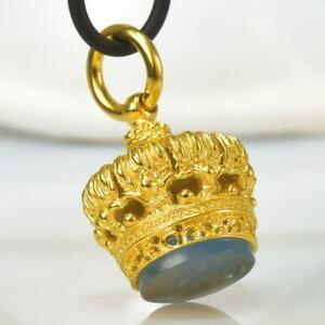 Gold Vermeil Sterling Silver Chalcedony Fob Seal Stamp Crown Pendant 11.73 g