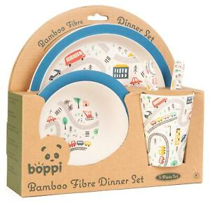 boppi Bamboo Kids Childrens Baby Dinner Set 5-Piece Plate Cup Bowl Cutlery CARS