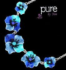 Luxus Statement Kette Noa Paris Halskette Emaille Versilbert Collier Blumen Glas