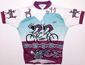 KUCHARIK Short Sleeve Cycling Jersey Kokopelli Purple Blue Men's XXL 2XL