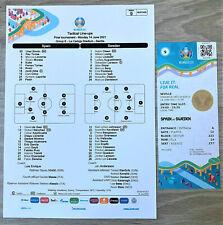 More details for spain v sweden - official uefa team sheet & match ticket - euro 2020 - match 9