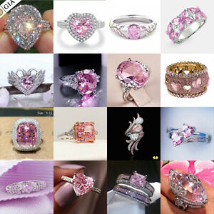 Elegant Women Jewelry 925 Silver Rings Pink Sapphire Wedding Party Ring Size6-10