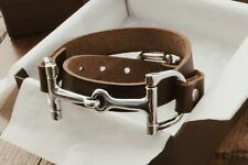 Leather Double Wrap Bracelet Real Genuine Leather and Silver or Gold Horse Bit B