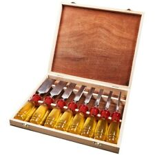 8 Piece Spilt Proof Chisel Set In Wooden Box Hardened Blade Various Sizes In Set