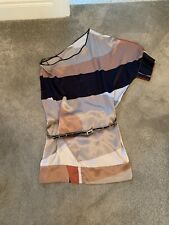 Pinko One Shoulder Silk Tunic Mini Dress Belt Size 42 10 Black Silver Rose Gold