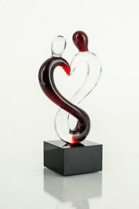 Designer Skulptur Glas Design Glas-Skupltur Unikat Akzente in Rot Schwarz 15x5cm