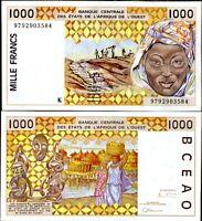 WEST AFRICAN STATE 1000 FRANCS SENEGAL 1997 P 711 K AUNC ABOUT UNC