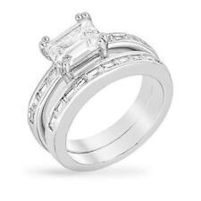 3 CW CZ Emerald Cut Channel Baguette Bridal Engagement Wedding Ring Set Size 10