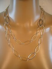 "Vintage 925 Sterling Silver 42.4"" Toggle Oval Link Chain Necklace Retro (#1206)"