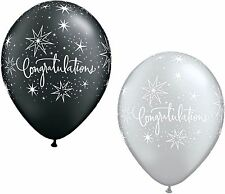 "25 x 11"" Congratulations Black & Silver Latex Balloons Ideal Party Decoration"