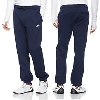 Nike Club Men's Tracksuit Bottoms Fleece Casual Track Trousers Navy