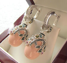 SALE ! GORGEOUS EARRINGS HANDMADE OF SOLID STERLING SILVER 925 w/ GENUINE CORAL
