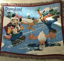 "Disneyland 2010 Tapestry Throw Blanket 52"" x 60"" Mickey Mouse Goofy Pluto"