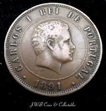 1891 Portugal 20 Reis Coin Nice Condition