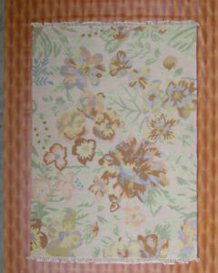 Afghan Beige color Living Room Floor Mat Carpet Kilim Flowers Design Rugs 5'x7'