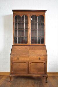 Antique vintage writing bureau bookcase / display cabinet