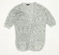 Tally Weijl Womens Size S-M Textured Cotton Blend Grey Cardigan (Regular)