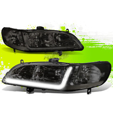 SMOKED HEADLAMP HEAD LIGHT CLEAR SIGNAL SIDE+LED DRL FOR 98-02 HONDA ACCORD CG