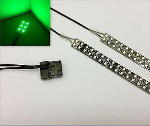 GREEN PC MODDING LED CASE LIGHT (TWIN 30CM STRIPS) MOLEX 60CM TAILS QUAD DENSITY