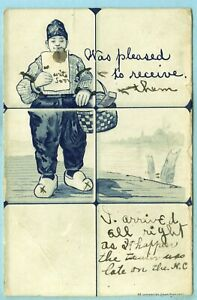 """Vintage, """"Was Pleased to Receive"""", A Dutch Boy with a Basket of Stuff Received.."""