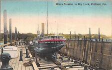 Tinted Postcard Ocean Steamer at Dry Dock in Portland, Oregon~110860