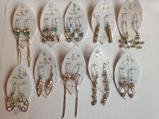 10 Pairs of Rhinestone Earrings – Aqua & Colourless - UK Seller
