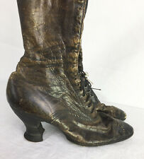 C 1900 Classic Louis Heel Laceup Boots Edwardian Victorian New York Label