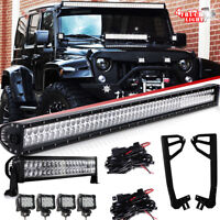"52INCH 700W LED Light Bar Combo+22"" 120W+4x 4"" 18W FOG PODS Fit Jeep Wrangler JK"