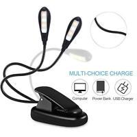 8 led Clip On Desk USB/Battery Lamp Adjustable Flexible Arm Reading Book Light