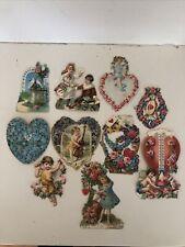 Antique Victorian Die Cut Valentines Cards Ephemera Lot Of 10