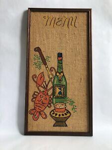 "Vintage MCM Tandy Corp MENU Burlap Bulletin Tac Board Dining Scene 24""x 12.5"""