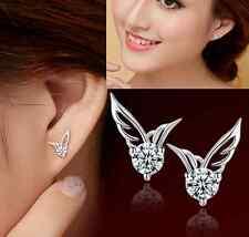 Silver Angel Wings beaded Ear Stud Earrings Crystal rhinestone Jewelry 1 pair hs