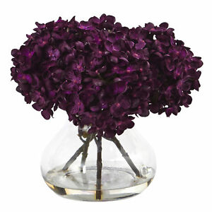 "Nearly Natural 1439-PP 8.5"" H Hydrangea Silk Flower Arrangement with Glass Va..."