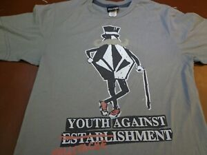 Volcom Youth Against Mustache Isment Gray  T-Shirt Youth Large  C19
