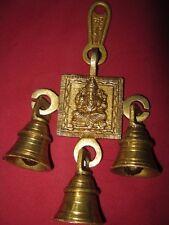 Brass Ganesha  Hanging Bells for Diwali Navratra Home temple Religious Door Gift