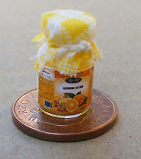 1:12 Scale Glass Jar Of Lemon Curd With A Yellow Check Cloth Top Dolls House Jam